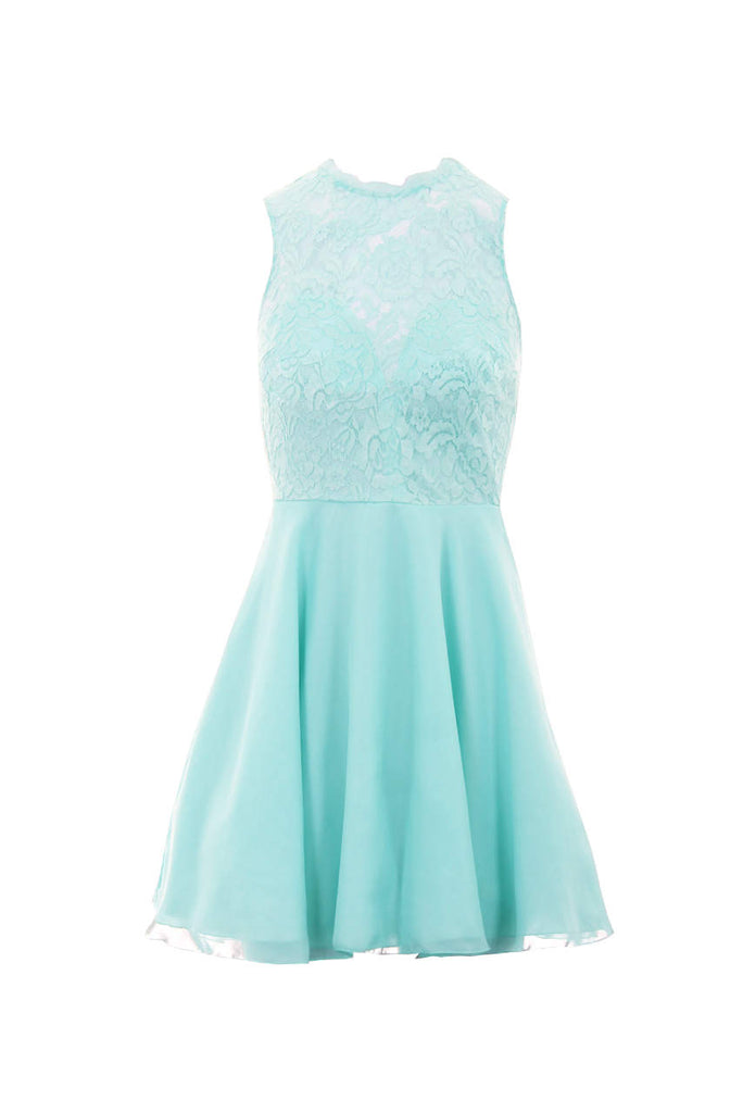 Soft Green Lace Top Skater Dress