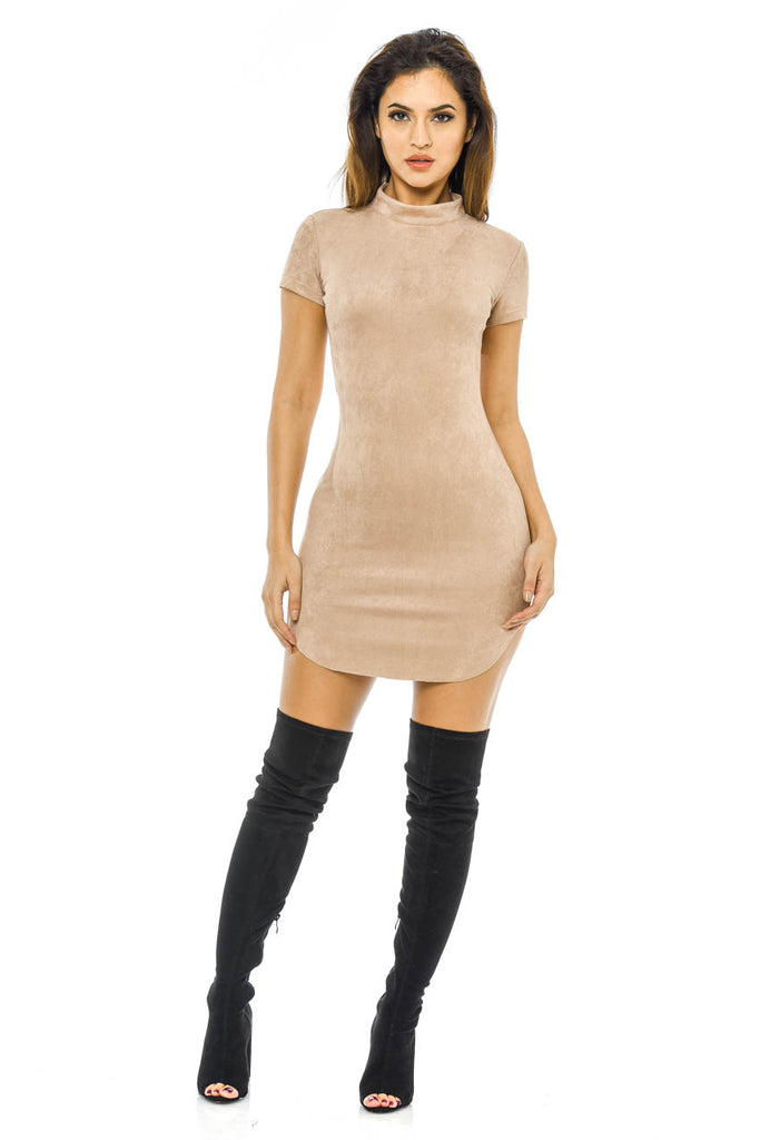 Faux Suede High Neck  Mini  Dress