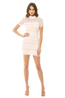 Pink Crochet Mini Dress with Striped Detail