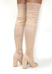 Nude Knee High Peep Toe Suede Heels