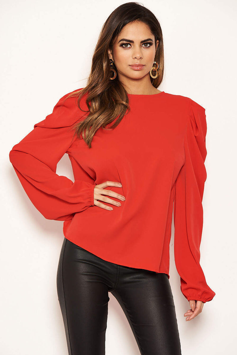 Red Puff Sleeve Loose Fit Top