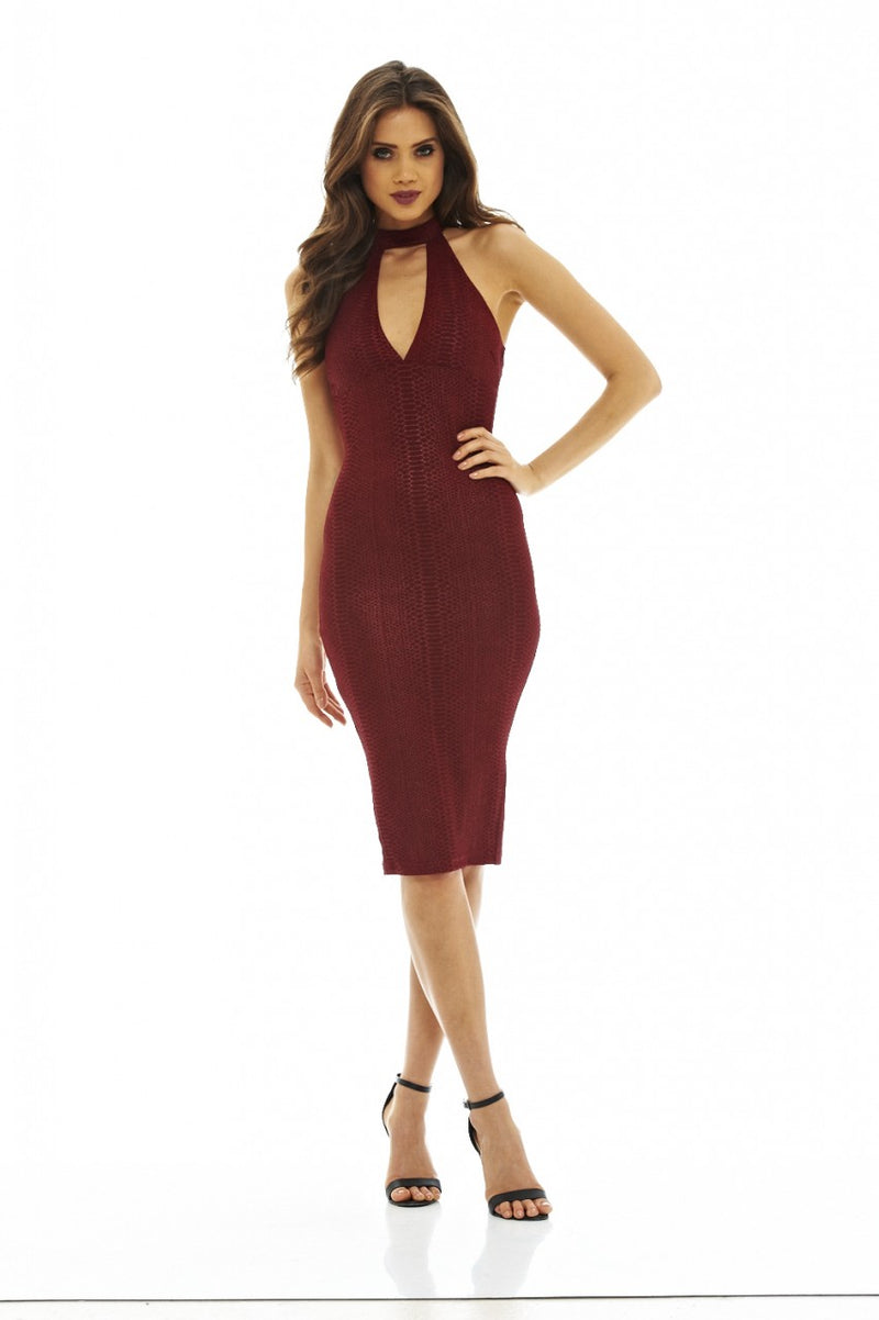 Red Wine Textured Midi Dress with Cut-Out Neck Detail