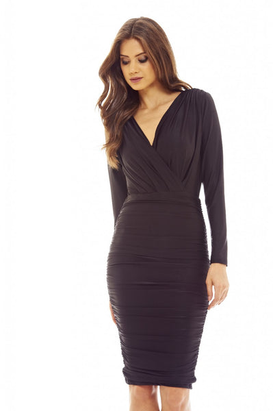 Black V Front Slinky Midi Dress