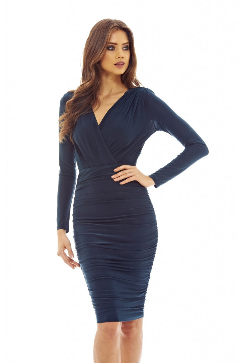 Teal V Front Slinky  Midi Dress