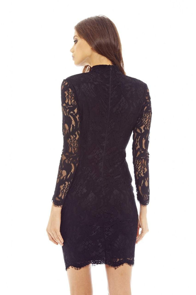 Black  Bodycon Dress with Lace Choker Detail