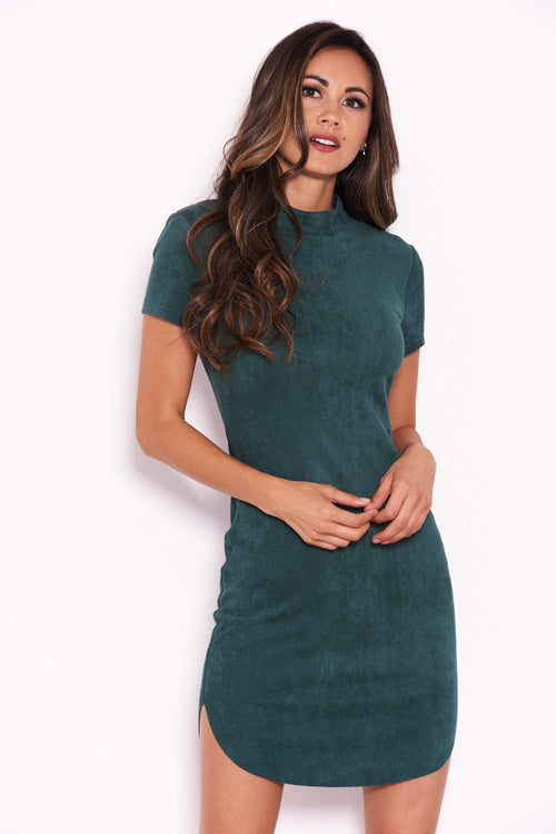56416c1035 Green Faux Suede Mini Dress with High Neck