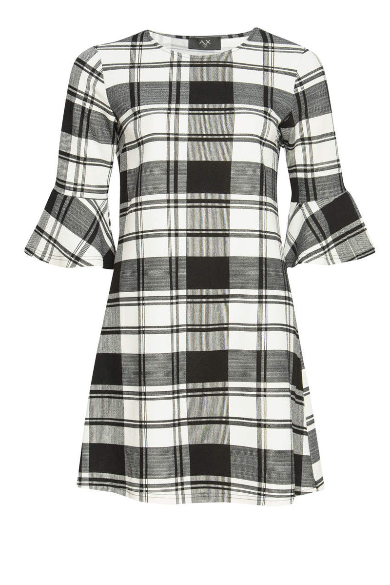 Black Checked A-Line Dress With Frill Detail
