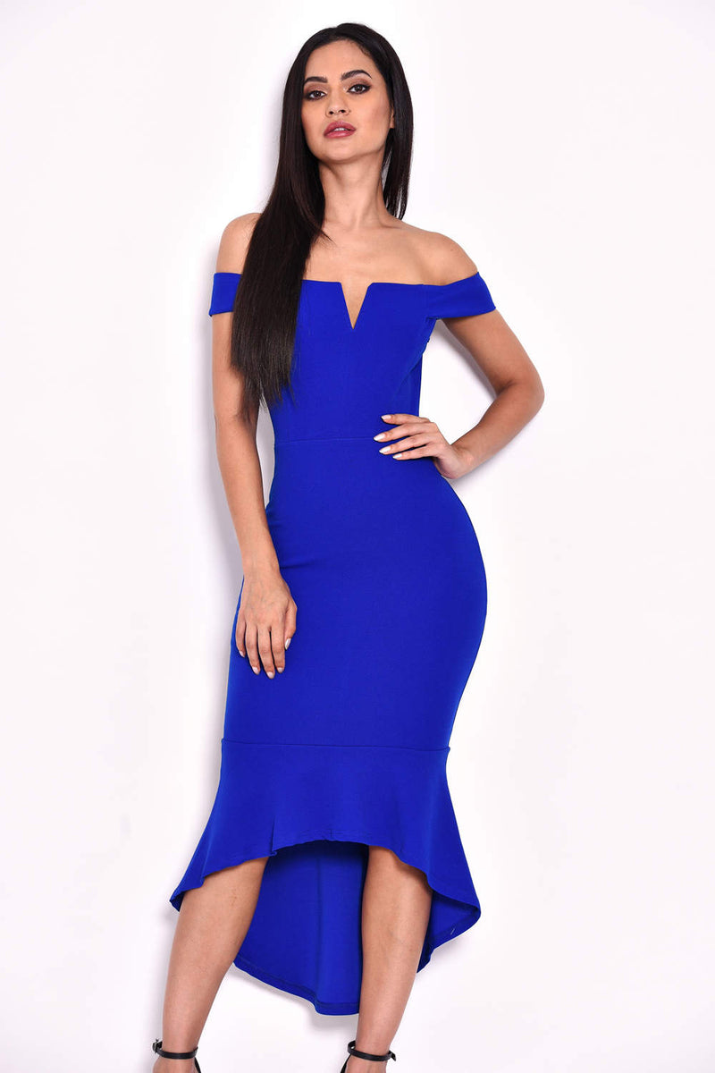 Blue Bardot Fishtail Midi Dress