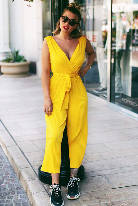 Red Pleated Choker Neck Jumpsuit