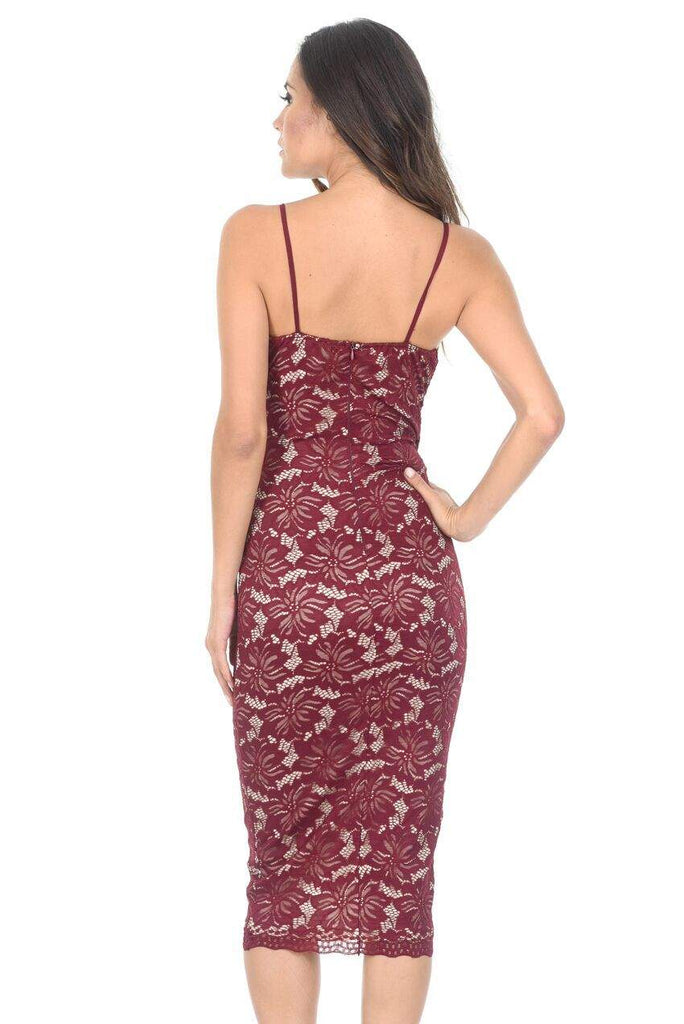 Wine and Nude Lace Midi Dress