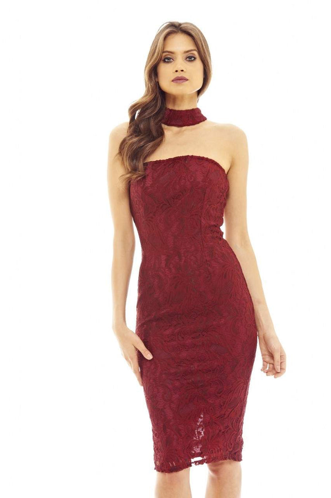 Red Wine Midi Dress with Lace and Choker Style