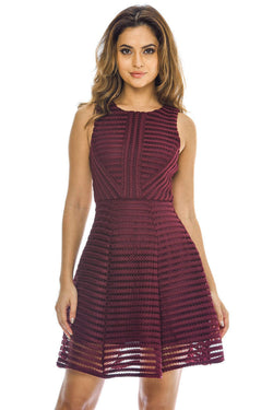 Wine Ladder Detail Skater  Dress