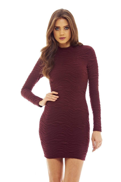 Red Wine Bodycon Dress with Long Sleeve Detail