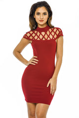 Wine Mini Bodycon  Dress with  Cage Detail