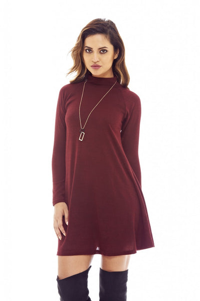 Red Wine Knitted Swing Dress with Turtle Neck Style