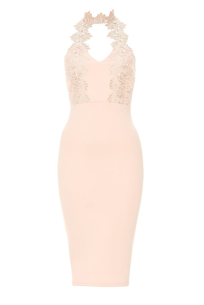 Pink Halterneck Choker Dress With Lace Detail