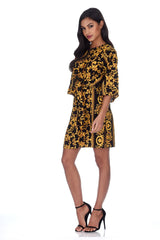 Black And Gold Patterned Shift Dress With Flared Sleeves