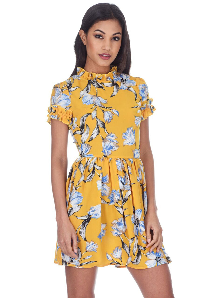 Yellow Floral Print Frill Detail Mini Dress