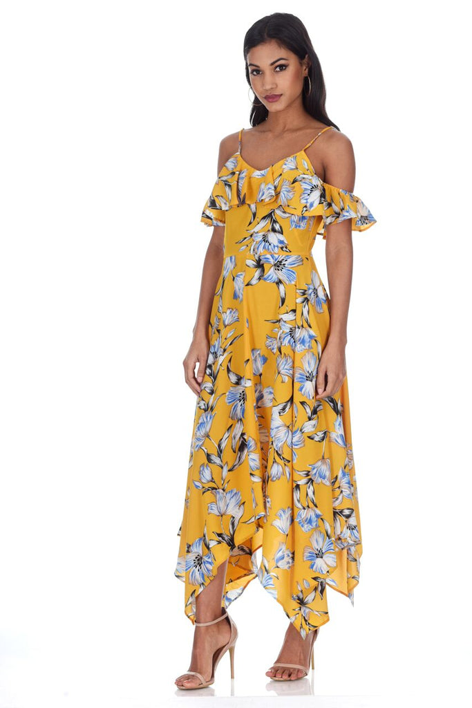 Yellow Floral Print Asymmetric Hem Dress