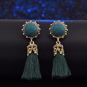 1 Pair Crystal Silk Long Tassel Earrings