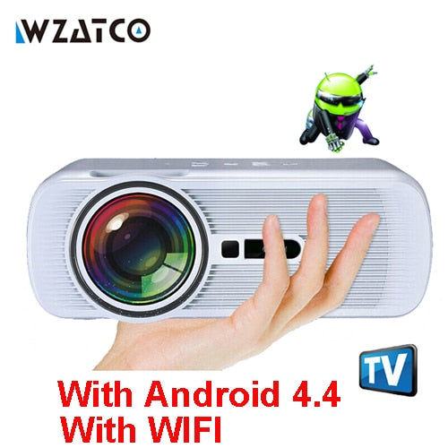 WZATCO CTL80 LCD Projector Upgrade Android 7.0 WIFI Portable LED TV Projector