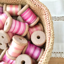Ten Metres Variegated Pure Silk Ribbon On Wooden Spool