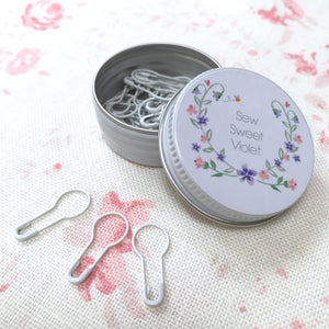 White Bulb Safety Pins in a Sweet Little Tin