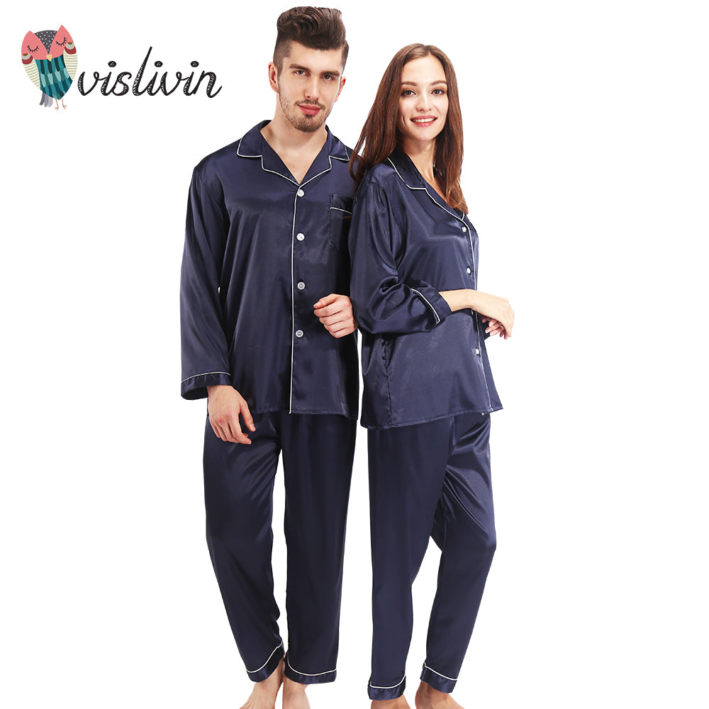 High-Quality Summer Silk Full Sleeve Pajamas For You and Him - La Splendour