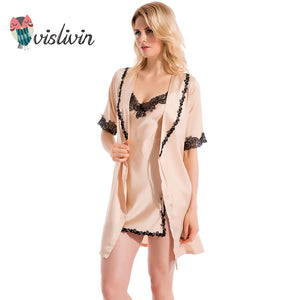 High-Quality Summer Silk Mini Gown + Sleepwear Set - La Splendour
