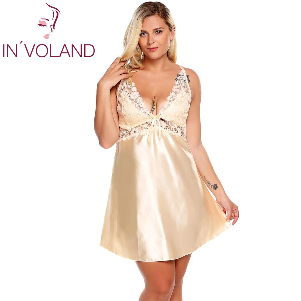High-Quality Plus Size Sexy Satin Sleep Dress XL To 4XL - La Splendour