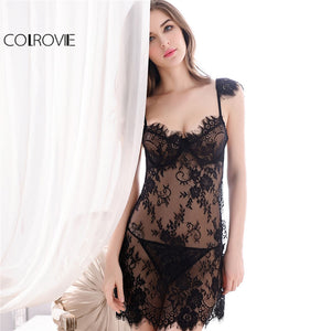 High-Quality Eyelash Lace Floral Slips Sleepwear Set - La Splendour