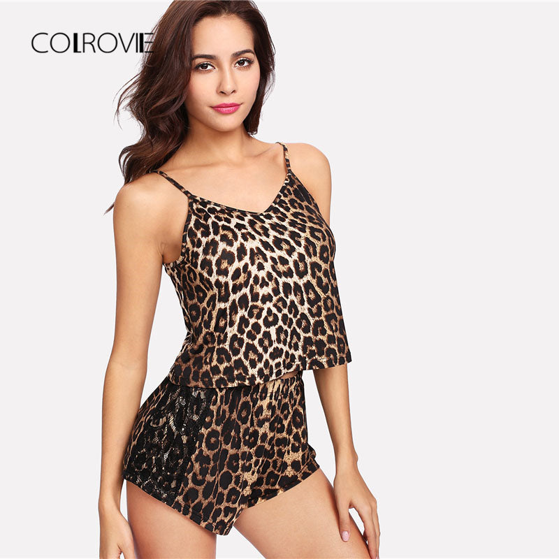 Leopard Print Stretchy Cami Top And Shorts Sleepwear Set - La Splendour
