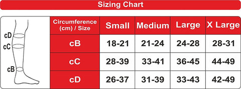 Sizing Chart for Ontex Instead Anti Embolism Stockings