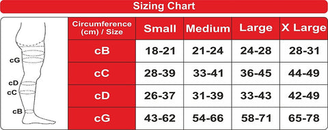 Sizing Chart for Ontex Instead Anti-Embolism Stockings for DVT Prophylaxis