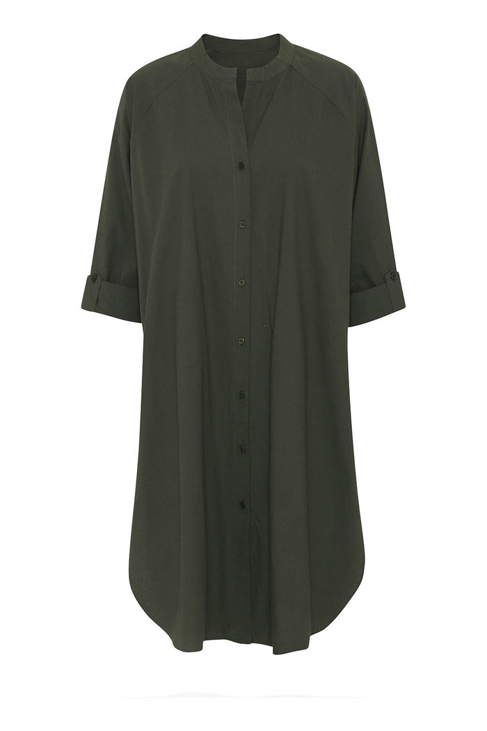 Moshi Moshi Mind - Remain Shirtdress - Olive Night