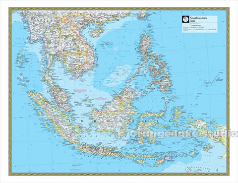 Large HD Southeast Asia Map - Canvas Painting
