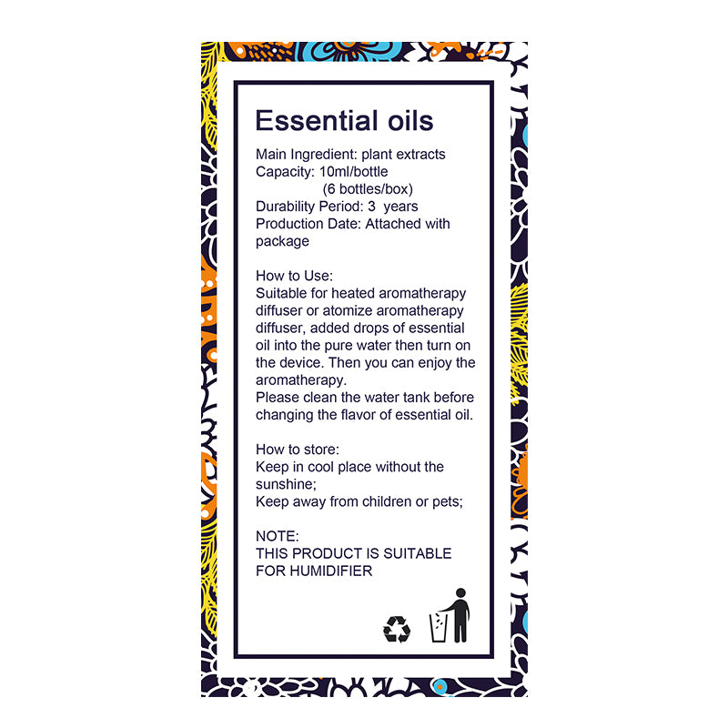Essential Oils for Diffuser, Aromatherapy Oil Humidifier 6 Kinds Fragrance of Lavender, Tea Tree, Rosemary, Lemongrass, Orange