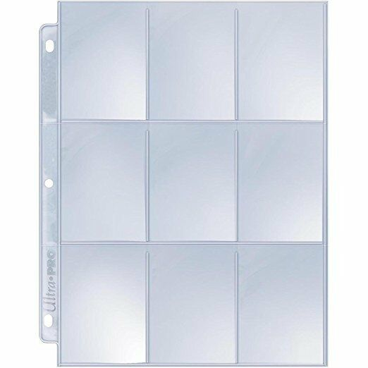 50x Ultra-Pro SILVER Card Pocket Pages - 9 pockets per page