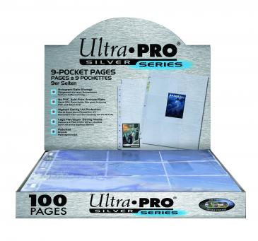 100x Ultra-Pro SILVER Card Pocket Pages - 9 pockets per page