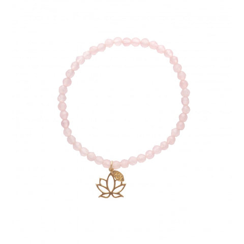 Bracelet Mantra Lotus rose quartz