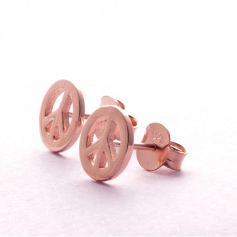 Pins Earrings Simplicity Peace Pink gold plated