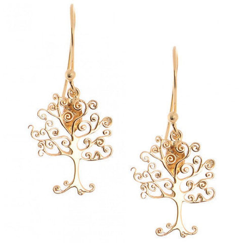 Earrings Simplicity Tree of life gold plated