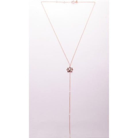 Necklace Ascendance Lotus pink gold plated