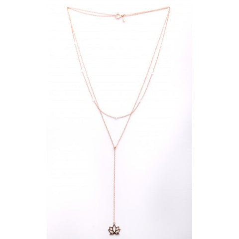 Necklace Embrace Lotus pink gold plated