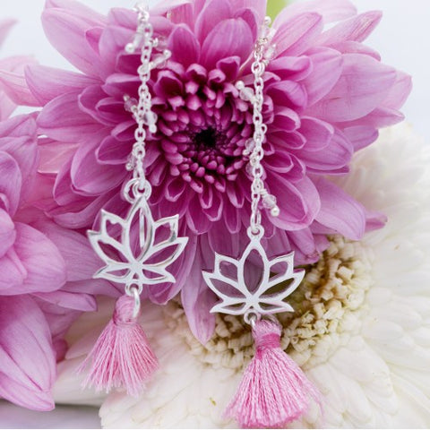 Earrings Tradition Lotus rose quartz