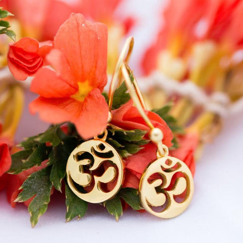 Earrings Simplicity Om gold plated