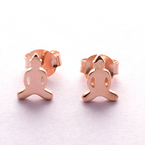 Pins Earrings Simplicity Buddha pink gold plated