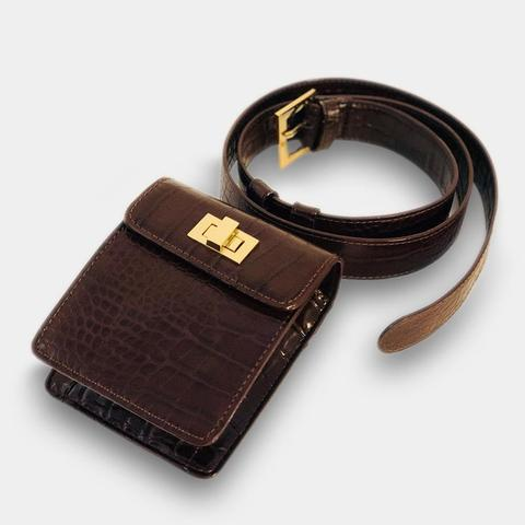 THE SOFIA BELT BAG - BROWN CROC