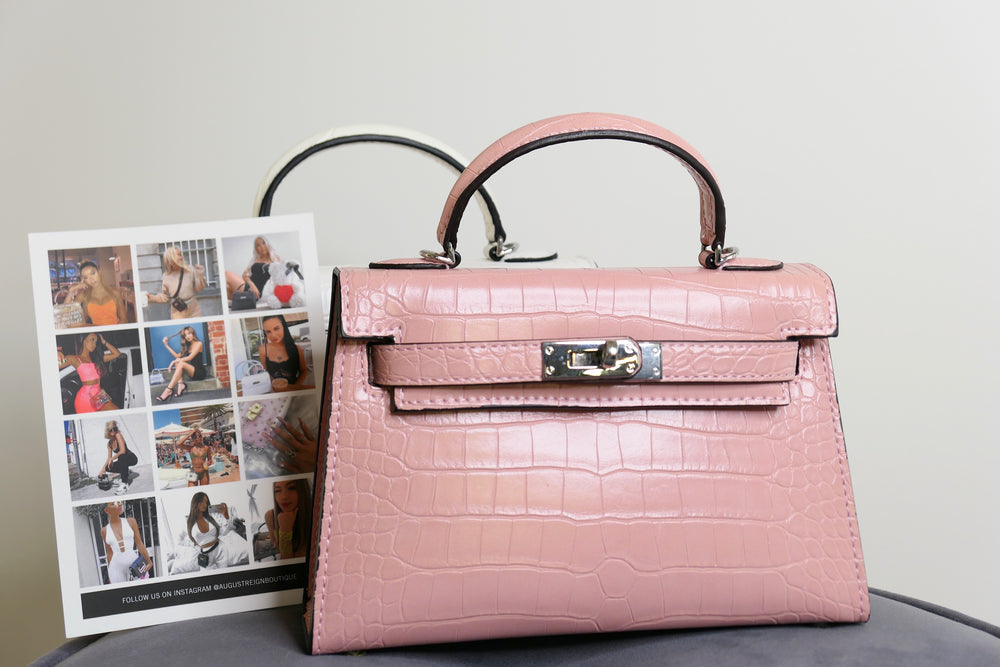 LUXE MINI CROC BAG - PINKY PROMISE