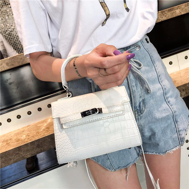 MINI WHITE CROC BAG